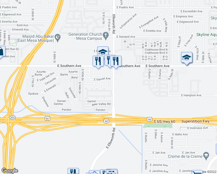 map of restaurants, bars, coffee shops, grocery stores, and more near 1332 South Providence Circle in Mesa