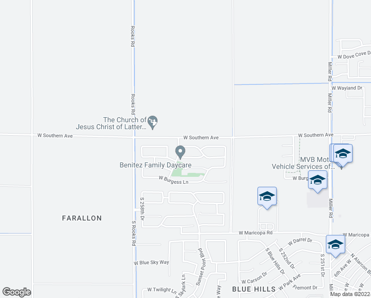map of restaurants, bars, coffee shops, grocery stores, and more near 25685 West Pleasant Lane in Buckeye