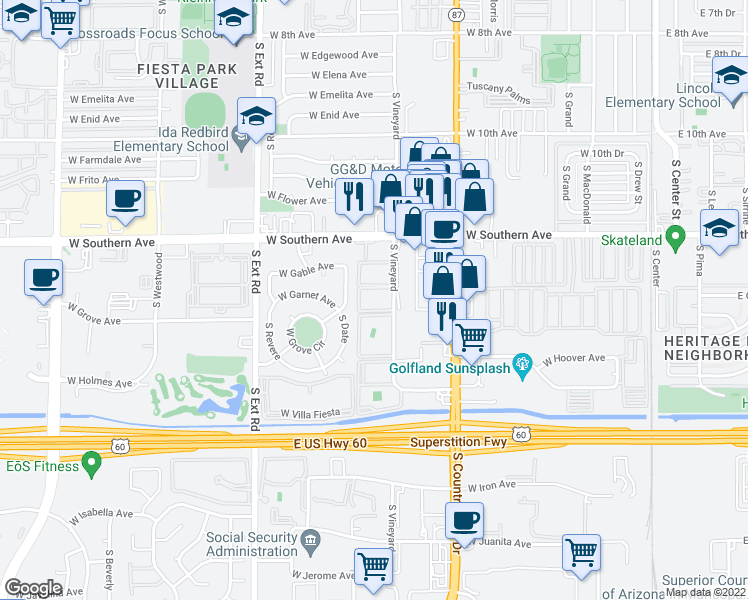 map of restaurants, bars, coffee shops, grocery stores, and more near 1318 South Vineyard in Mesa