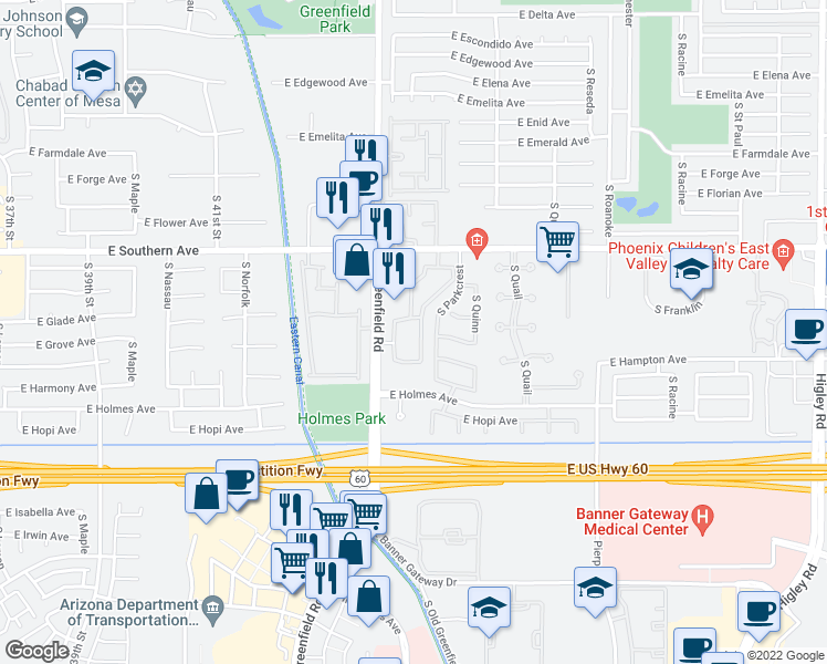 map of restaurants, bars, coffee shops, grocery stores, and more near 1361 South Greenfield Road in Mesa