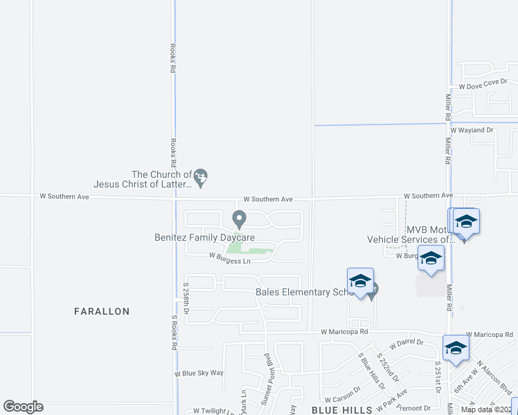 map of restaurants, bars, coffee shops, grocery stores, and more near 25652 West Pleasant Lane in Buckeye