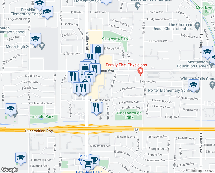 map of restaurants, bars, coffee shops, grocery stores, and more near 2151 East Southern Avenue in Mesa