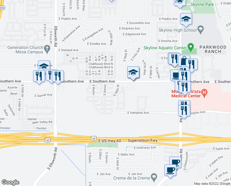 map of restaurants, bars, coffee shops, grocery stores, and more near 1247 South 96th Street in Mesa