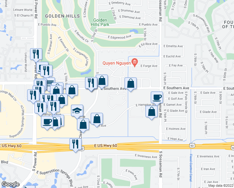 map of restaurants, bars, coffee shops, grocery stores, and more near 7311 East Southern Avenue in Mesa