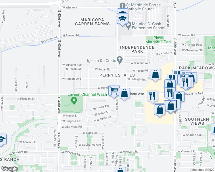 map of restaurants, bars, coffee shops, grocery stores, and more near 3930 West Huntington Drive in Phoenix