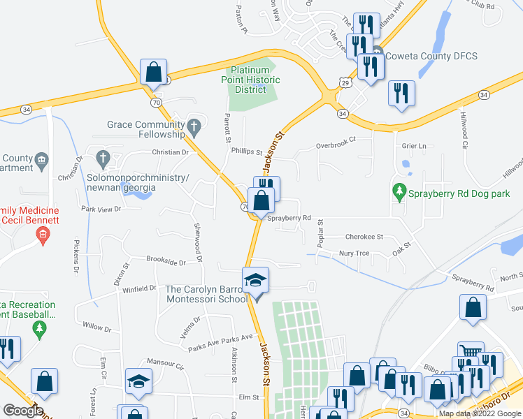 map of restaurants, bars, coffee shops, grocery stores, and more near 3-41 Roscoe Road in Newnan
