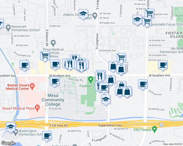 map of restaurants, bars, coffee shops, grocery stores, and more near 1620 West Southern Avenue in Mesa