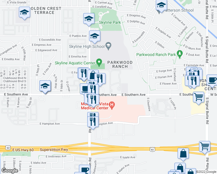 map of restaurants, bars, coffee shops, grocery stores, and more near 10136 East Southern Avenue in Mesa