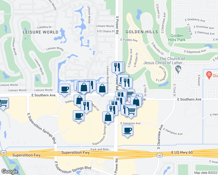 map of restaurants, bars, coffee shops, grocery stores, and more near 187 Leisure World in Mesa