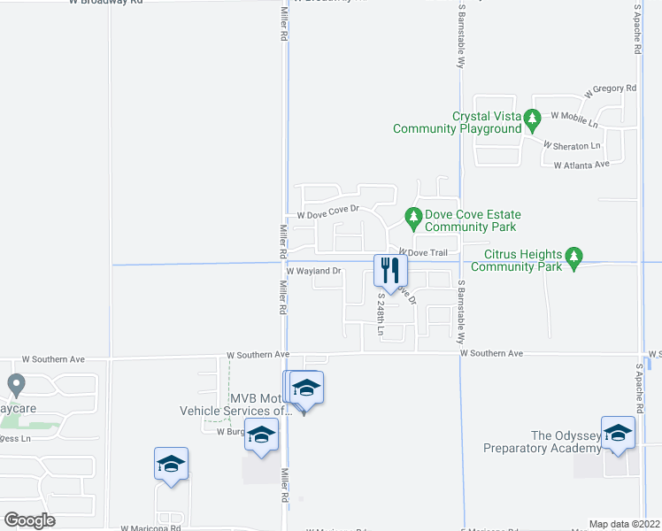 map of restaurants, bars, coffee shops, grocery stores, and more near 24990 West Wayland Drive in Buckeye