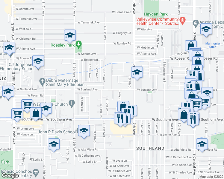 map of restaurants, bars, coffee shops, grocery stores, and more near 5504 South 10th Avenue in Phoenix