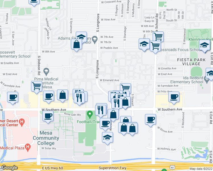 map of restaurants, bars, coffee shops, grocery stores, and more near 1033 South Longmore in Mesa