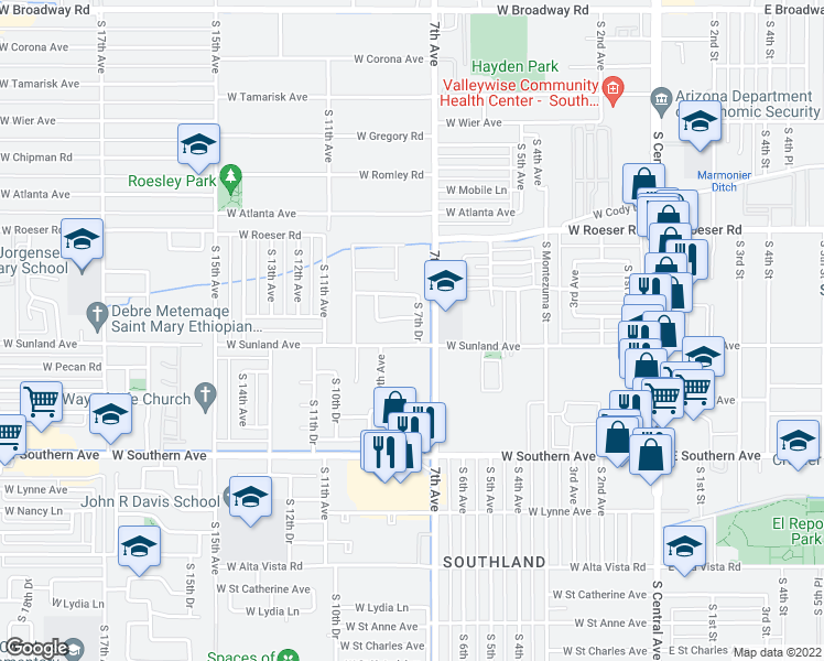 map of restaurants, bars, coffee shops, grocery stores, and more near 5514 South 7th Drive in Phoenix