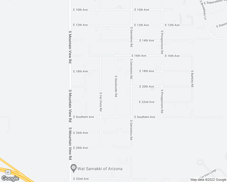 map of restaurants, bars, coffee shops, grocery stores, and more near 2105 South Sixshooter Road in Apache Junction