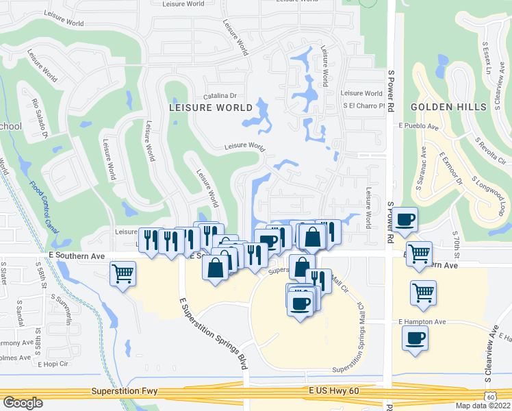 map of restaurants, bars, coffee shops, grocery stores, and more near 384 Leisure World in Mesa