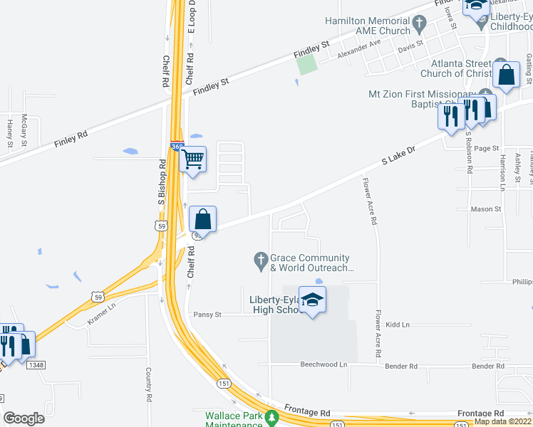 map of restaurants, bars, coffee shops, grocery stores, and more near 2503 Leopard Drive in Texarkana