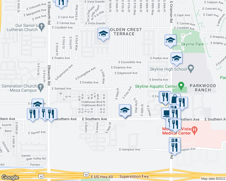 map of restaurants, bars, coffee shops, grocery stores, and more near 9613 East Sunland Avenue in Mesa
