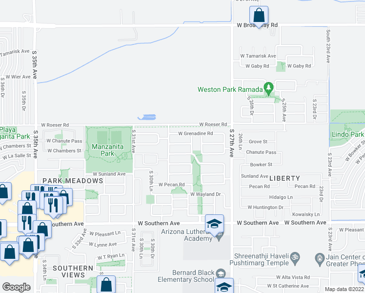 map of restaurants, bars, coffee shops, grocery stores, and more near 2834 West La Salle Street in Phoenix