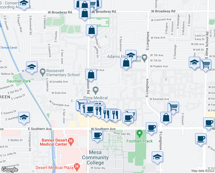 map of restaurants, bars, coffee shops, grocery stores, and more near Villetta Apartments in Mesa