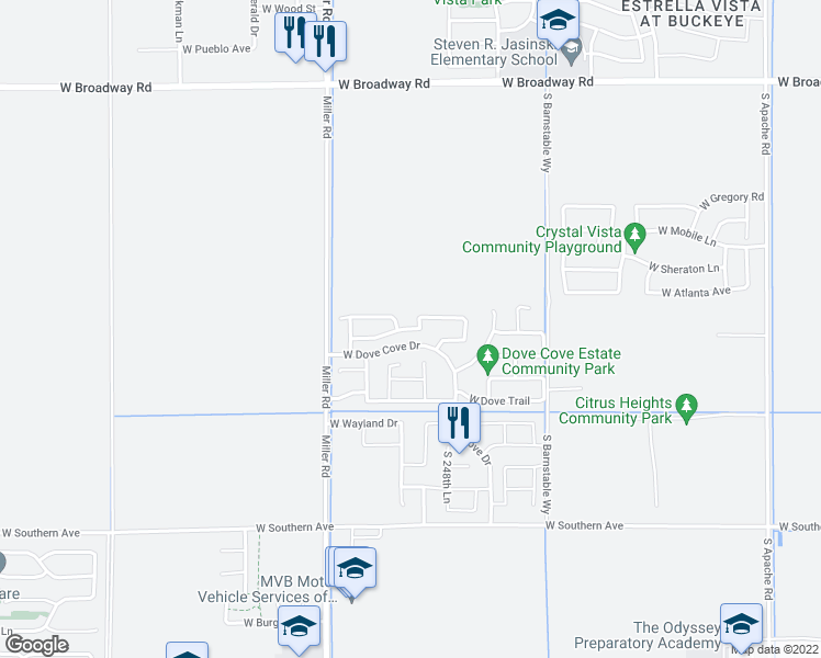 map of restaurants, bars, coffee shops, grocery stores, and more near 24942 West Dove Mesa Drive in Buckeye