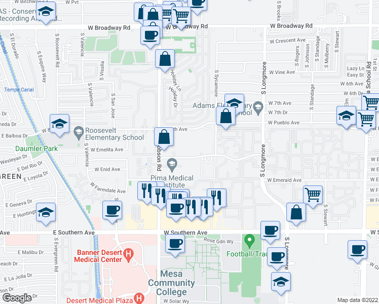 map of restaurants, bars, coffee shops, grocery stores, and more near 1840 West Emelita Avenue in Mesa