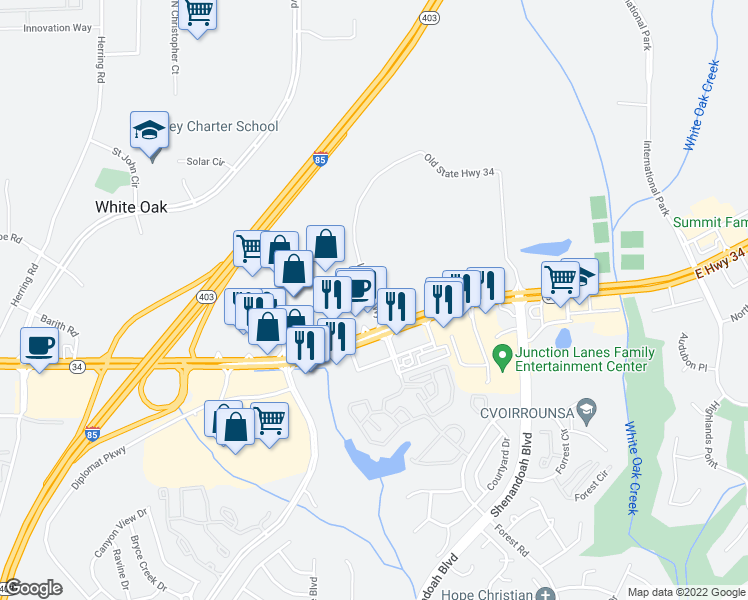 map of restaurants, bars, coffee shops, grocery stores, and more near 1140 East Highway 34 in Newnan