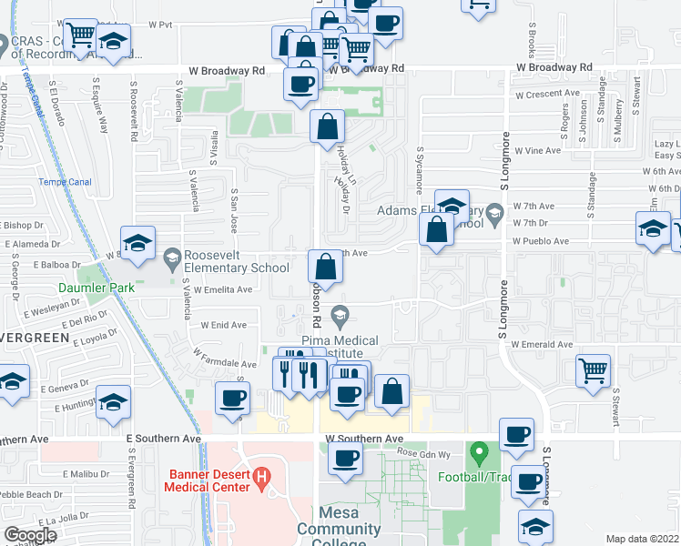 map of restaurants, bars, coffee shops, grocery stores, and more near 825 South Dobson Road in Mesa
