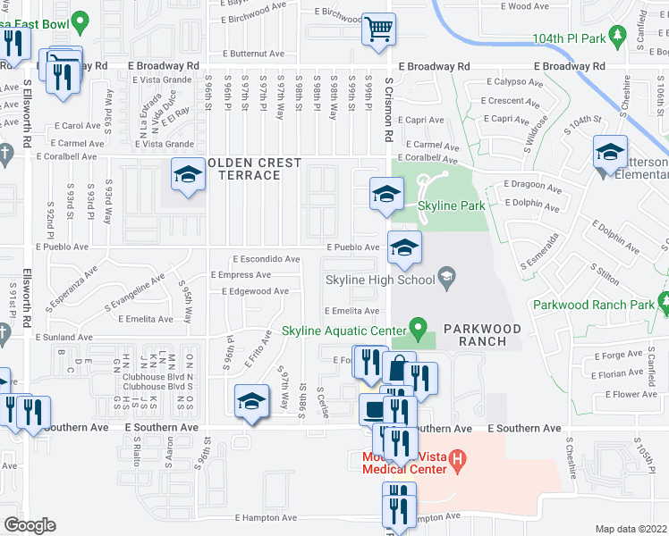 map of restaurants, bars, coffee shops, grocery stores, and more near 9834 East Empress Avenue in Mesa