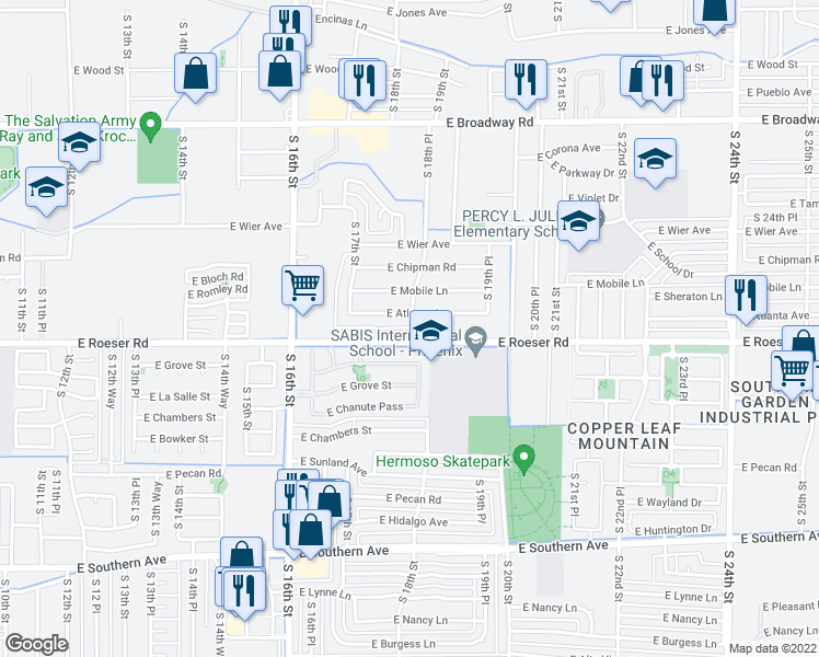 map of restaurants, bars, coffee shops, grocery stores, and more near 5150 South 18th Place in Phoenix
