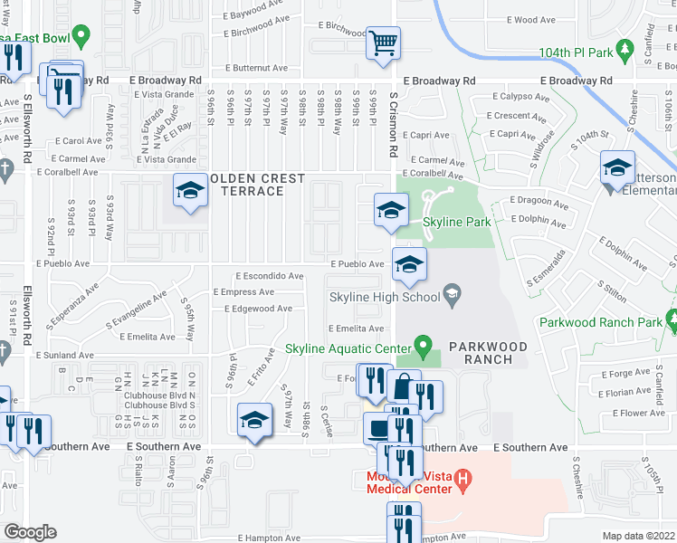 map of restaurants, bars, coffee shops, grocery stores, and more near East Pueblo Avenue in Mesa