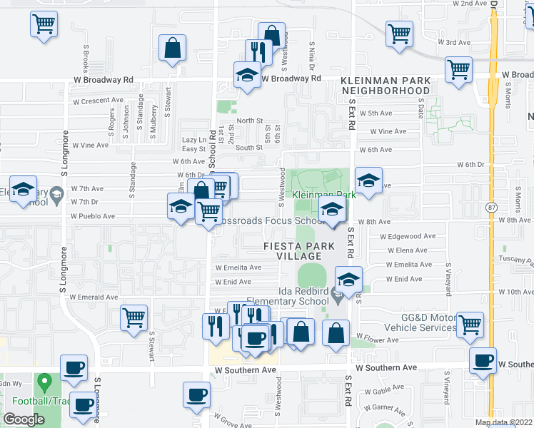 map of restaurants, bars, coffee shops, grocery stores, and more near 1050 West 8th Avenue in Mesa