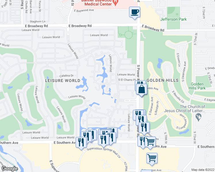 map of restaurants, bars, coffee shops, grocery stores, and more near 686 Leisure World in Mesa