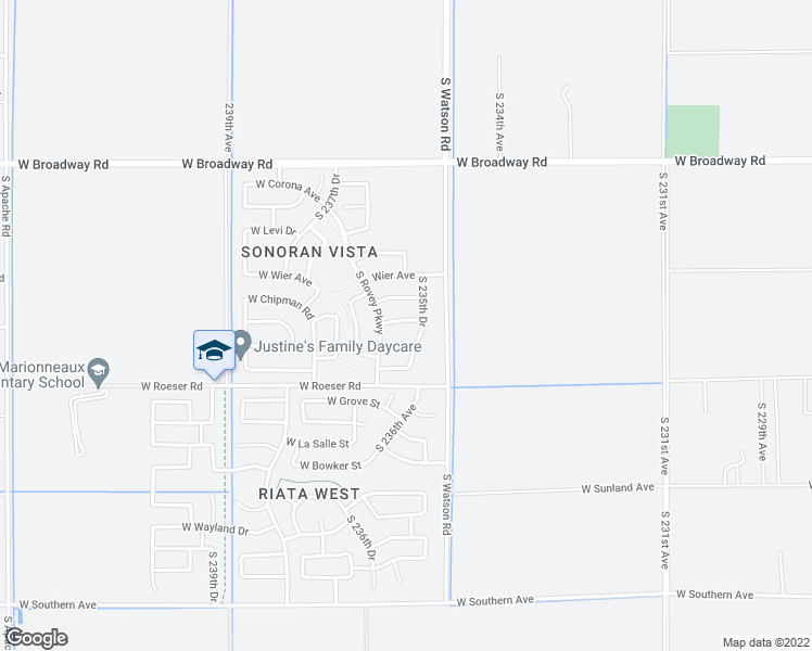 map of restaurants, bars, coffee shops, grocery stores, and more near 23571 West Romley Avenue in Buckeye