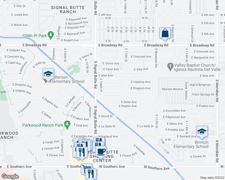 map of restaurants, bars, coffee shops, grocery stores, and more near 10911 East Dragoon Avenue in Mesa