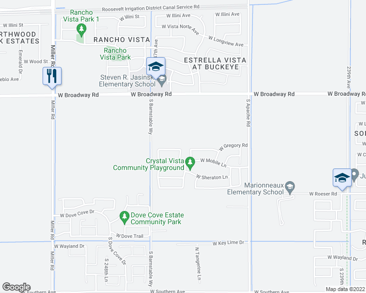 map of restaurants, bars, coffee shops, grocery stores, and more near 24570 West Gregory Road in Buckeye