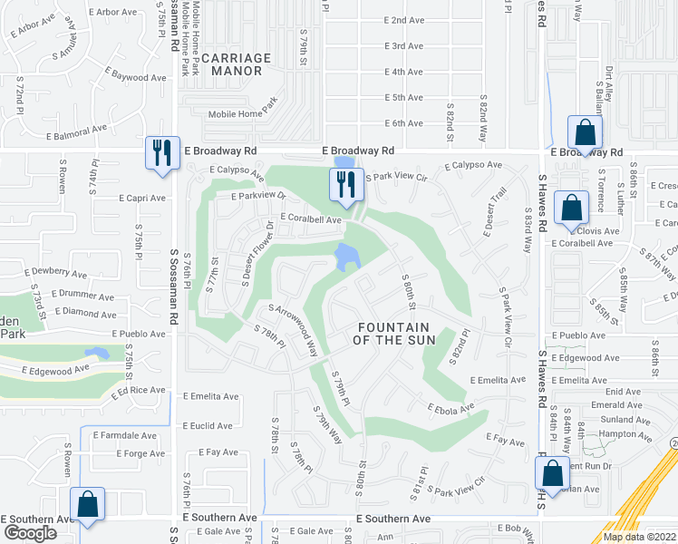 map of restaurants, bars, coffee shops, grocery stores, and more near 650 South 80th Street in Mesa