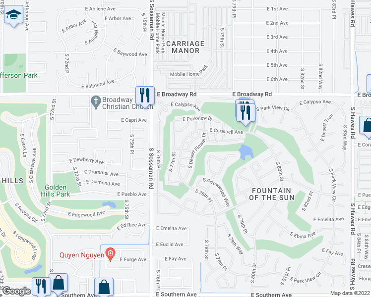 map of restaurants, bars, coffee shops, grocery stores, and more near 7712 East Mariposa Way in Mesa