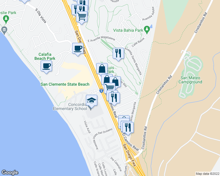 map of restaurants, bars, coffee shops, grocery stores, and more near 104 Avenida Dominguez in San Clemente