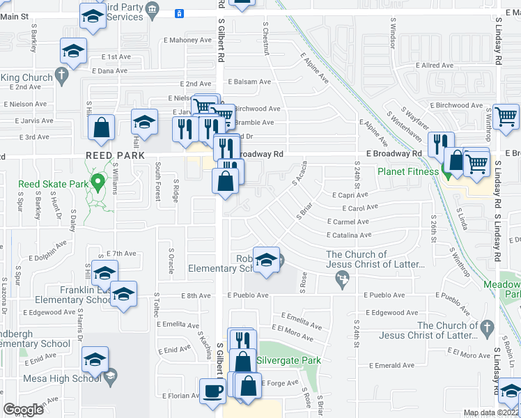map of restaurants, bars, coffee shops, grocery stores, and more near 530-548 South Acacia in Mesa