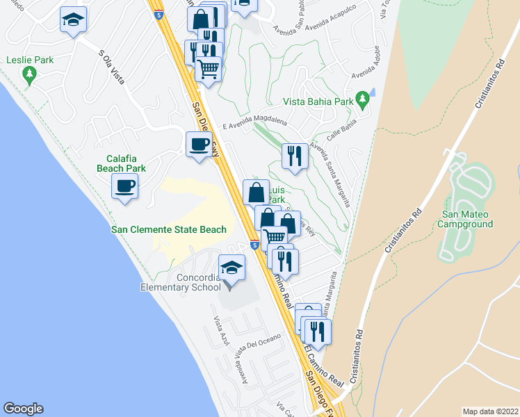 map of restaurants, bars, coffee shops, grocery stores, and more near 2731 Calle Del Comercio in San Clemente