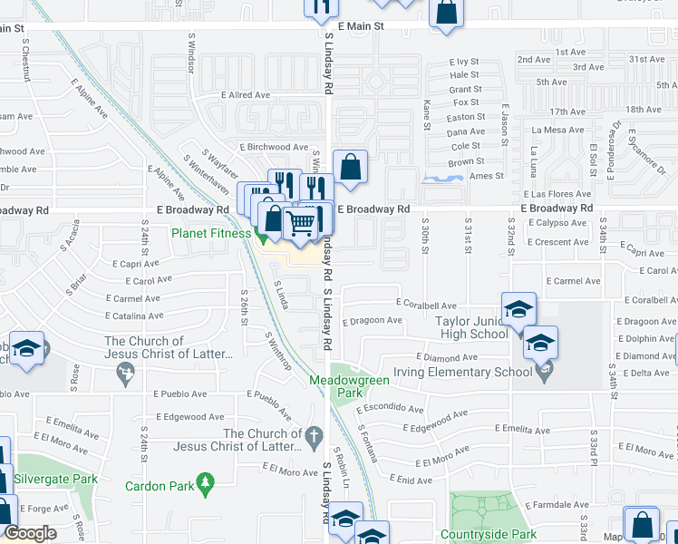 map of restaurants, bars, coffee shops, grocery stores, and more near 2813 East Capri Circle in Mesa