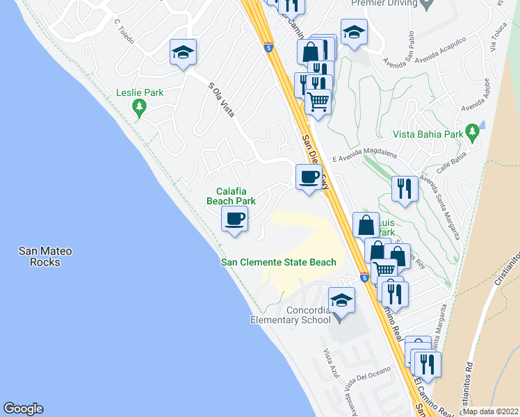map of restaurants, bars, coffee shops, grocery stores, and more near 222 Avenida Lobeiro in San Clemente
