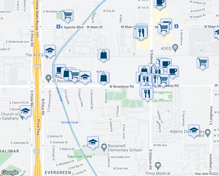 map of restaurants, bars, coffee shops, grocery stores, and more near 2145 West Broadway Road in Mesa