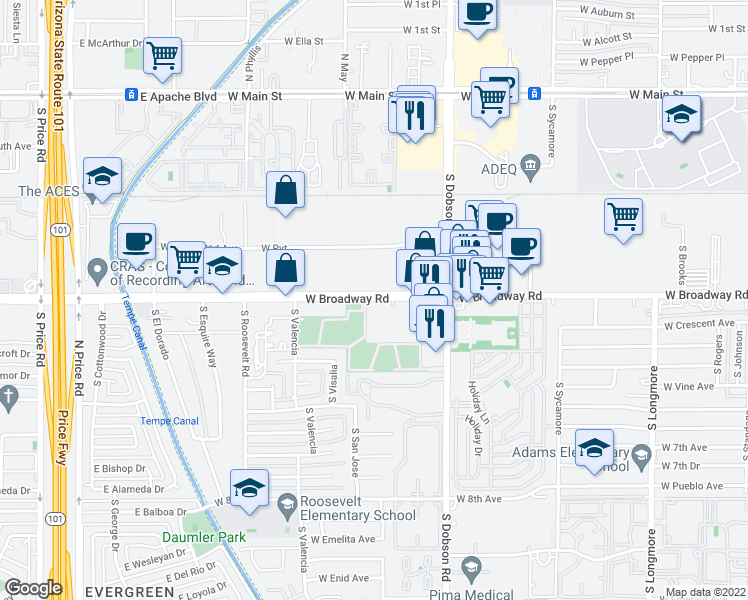 map of restaurants, bars, coffee shops, grocery stores, and more near 2128-2140 West Broadway Road in Mesa