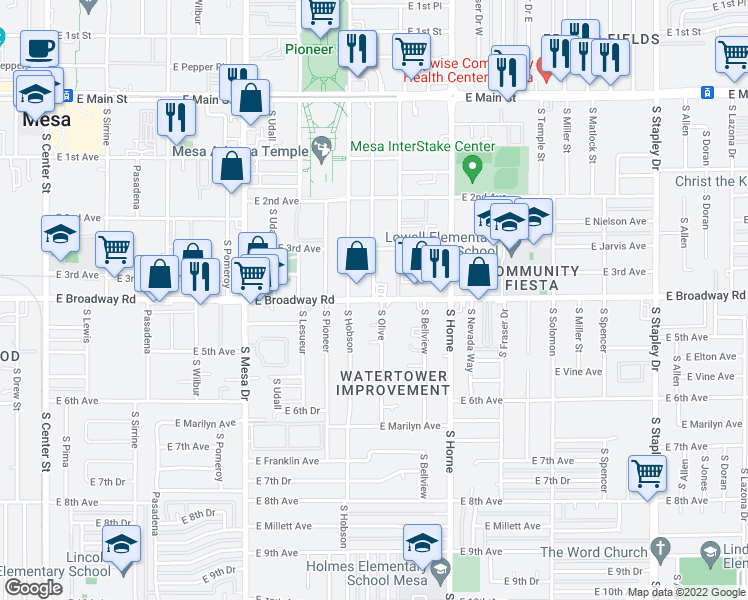 map of restaurants, bars, coffee shops, grocery stores, and more near South Olive in Mesa