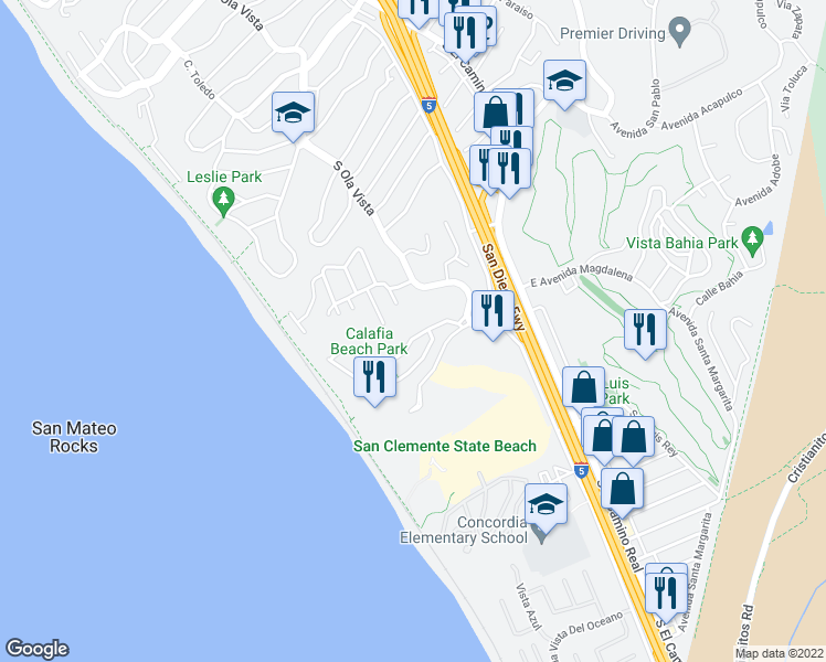 map of restaurants, bars, coffee shops, grocery stores, and more near 214 Avenida Montalvo in San Clemente
