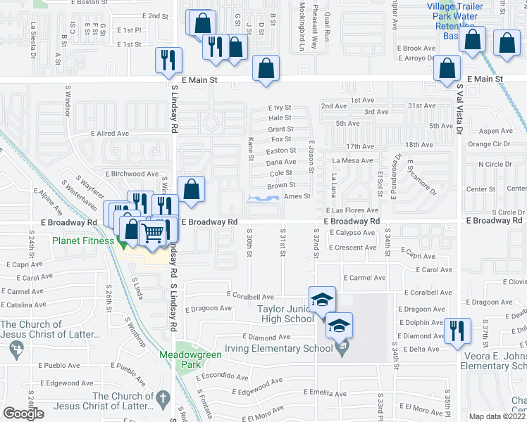 map of restaurants, bars, coffee shops, grocery stores, and more near 3030 East Broadway Road in Mesa