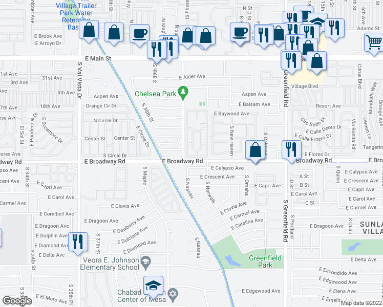 map of restaurants, bars, coffee shops, grocery stores, and more near 4104 East Broadway Road in Mesa