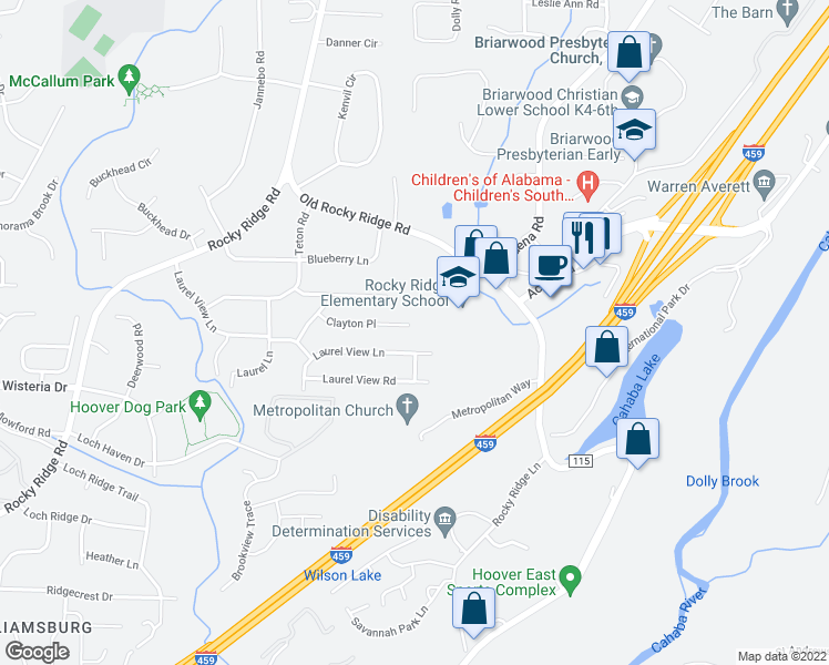 map of restaurants, bars, coffee shops, grocery stores, and more near 3540 Clayton Place in Hoover