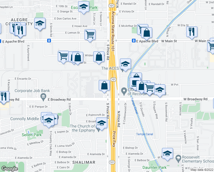 map of restaurants, bars, coffee shops, grocery stores, and more near 1750 South Price Road in Tempe